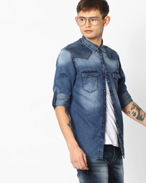Denim Shirt With Roll-Up Sleeves By MUFTI ( Blue )