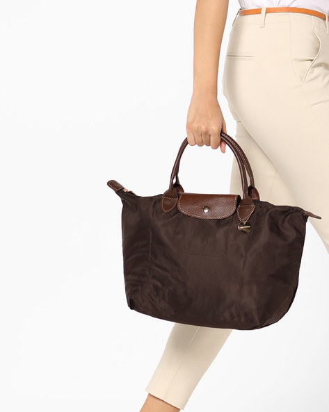 Tote Bag With Flap Closure By Lino Perros ( Brown )