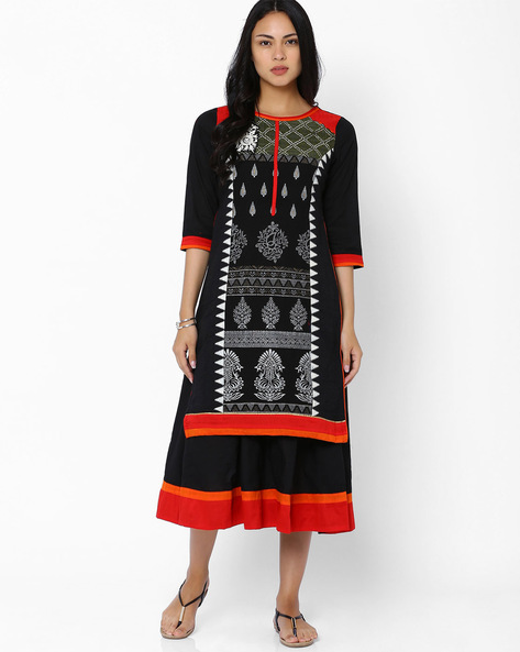 Printed Layered Kurta With Embroidery By Rinaali Dutt Wadhwa ( Black )