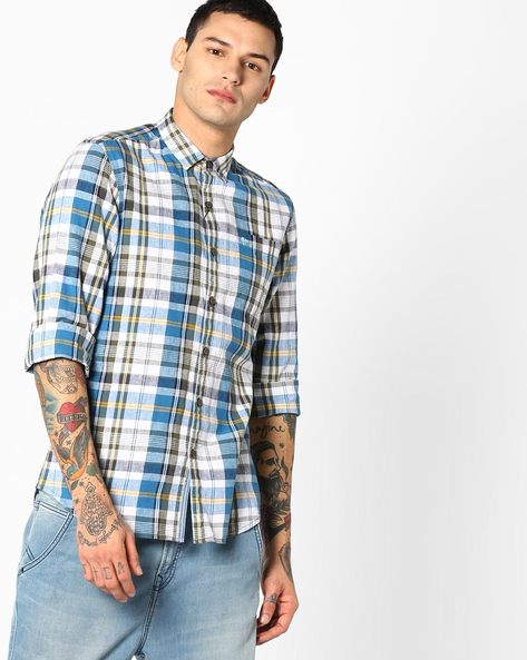 Gill Checked Slim Fit Shirt By Lee ( Blue )