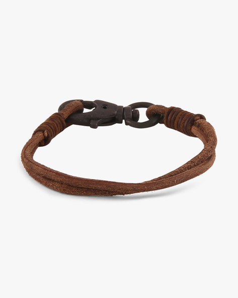 Knotted Leather Rope Bracelet By Ayesha ( Brown )