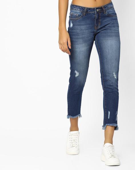 Distressed Jeans With Frayed Hems By AJIO ( Indigo )