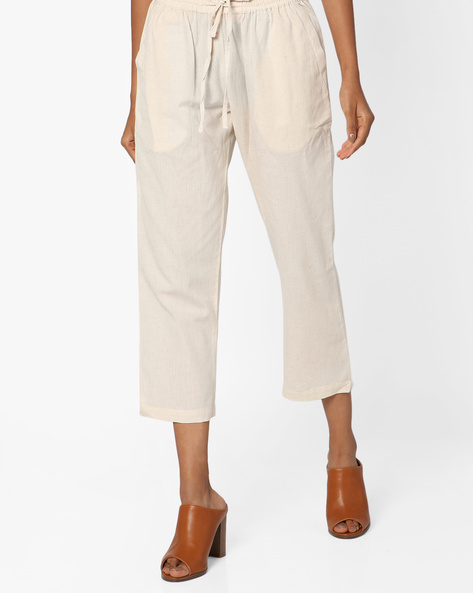 Cropped Pants With Drawstring Fastening By Project Eve IW Casual ( Natural )