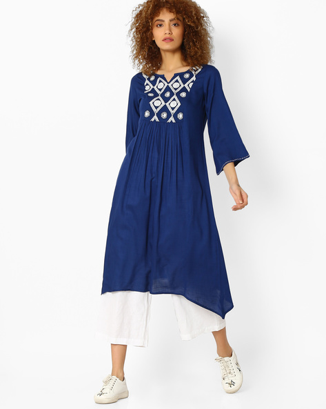 A-Line Tunic With Embroidered Panel By Global Desi ( Indigo )
