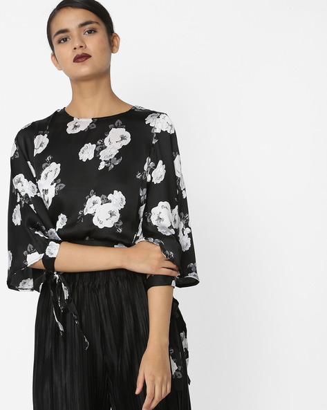 Floral Print Blouson Top With Tie-Ups By Oxolloxo ( Black )