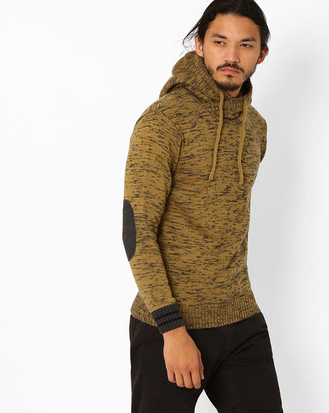 Hooded Sweater With Suede Elbow Patch By AJIO ( Khaki )
