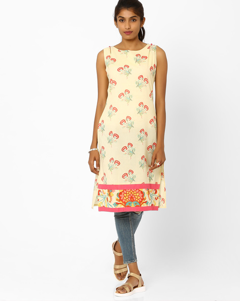 Floral Print Sleeveless Kurta By AJIO ( Yellow )