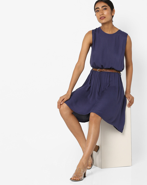 Textured Shift Dress With Braided Belt By Tokyo Talkies ( Grey )