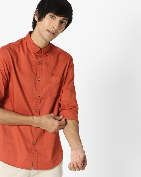 Printed Shirt With Patch Pocket By FLYING MACHINE ( Rust )