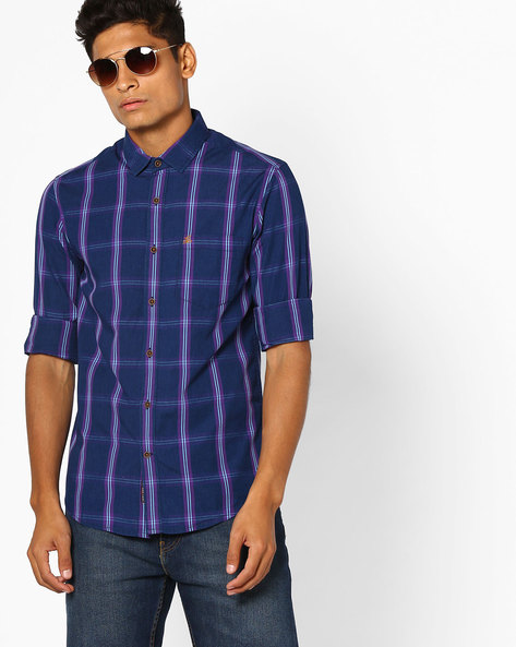 Checked Slim Fit Shirt By The Indian Garage Co ( Purple )