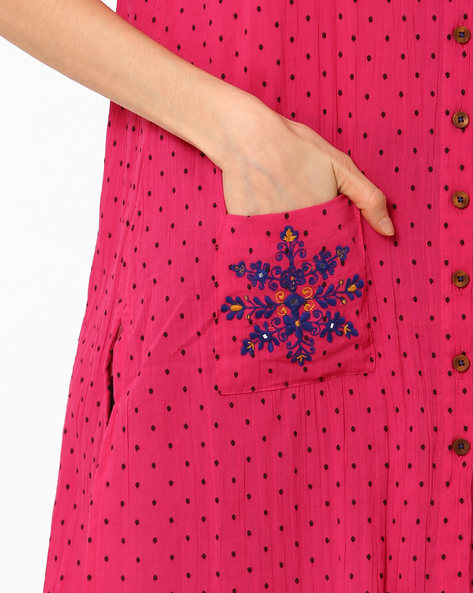 Polka-Dot Kurta With Roll-Up Sleeves By Global Desi ( Pink )