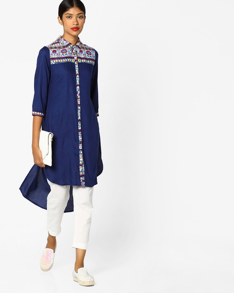 High-Low Kurta With Printed Yoke By Melange By Lifestyle ( Blue )