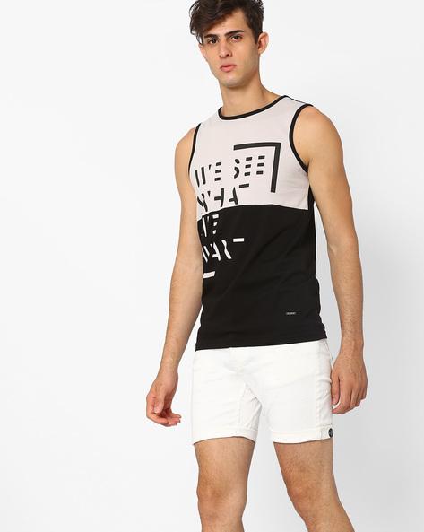 Cut & Sew Graphic Print Tank T-shirt By AJIO ( Black )