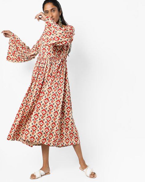 Printed Midi Dress By AJIO ( Offwhite )