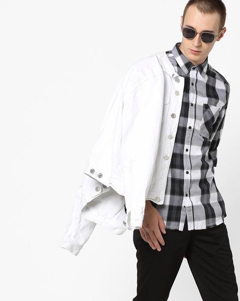 Checked Shirt With Frayed Hemline By AJIO ( Black )