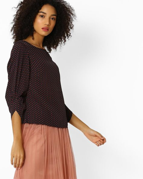 Geometric Print Top With Puffed Sleeves By Oxolloxo ( Black )