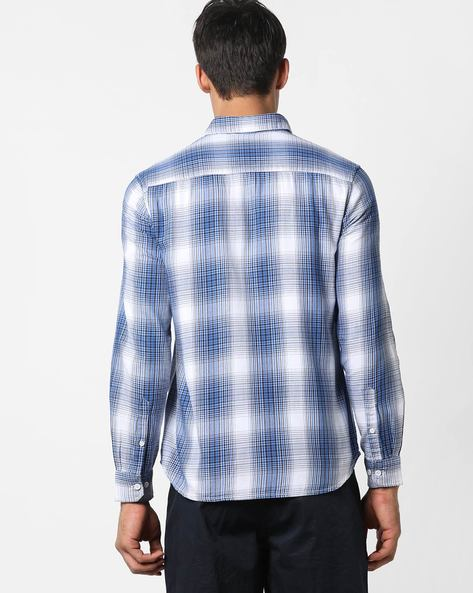 Checked Casual Shirt With Patch Pocket By AJIO ( Blue ) - 460157443002