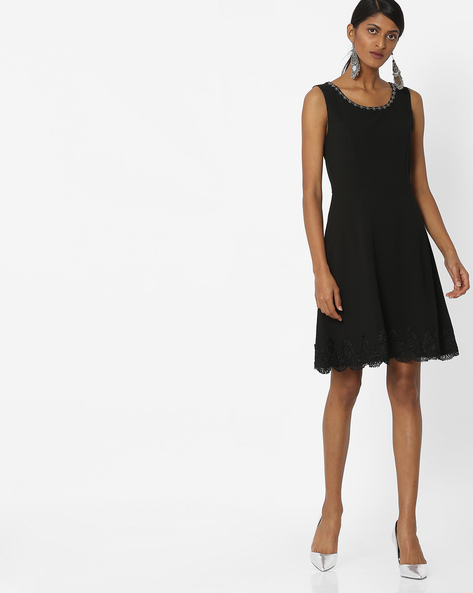 Embellished Skater Dress With Lace Taping By Deal Jeans ( Black )