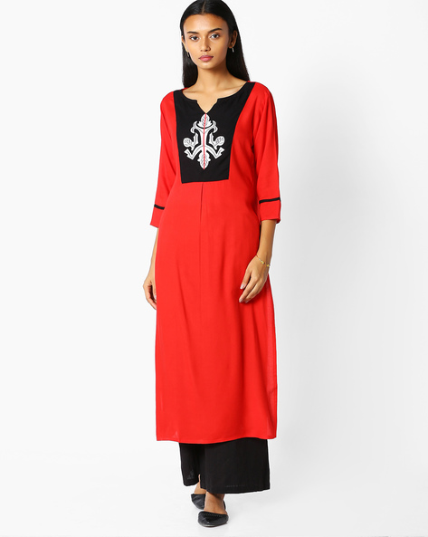 Straight Kurta With Contrast Yoke By Jaipur Kurti ( Red )
