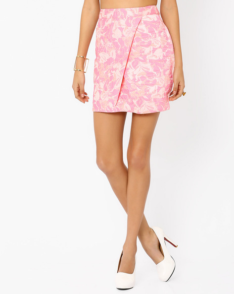 Mini Skirt With Overlapping Front By AJIO ( Pink )