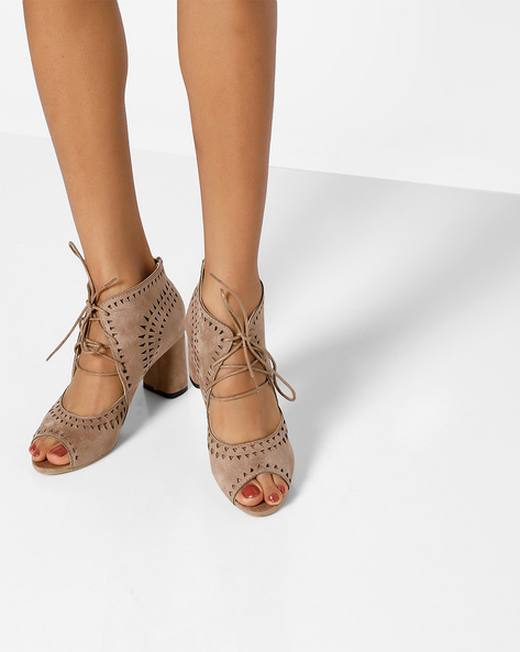Peep-Toe Heels With Laser Cut-Outs By MFT Couture ( Taupe )