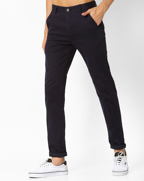 Mid-Rise Tapered Fit Trousers By Fort Collins ( Navy )