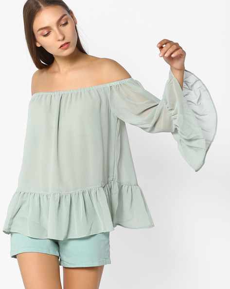 Off-Shoulder Top With Flared Sleeves By Rena Love ( Seagreen )