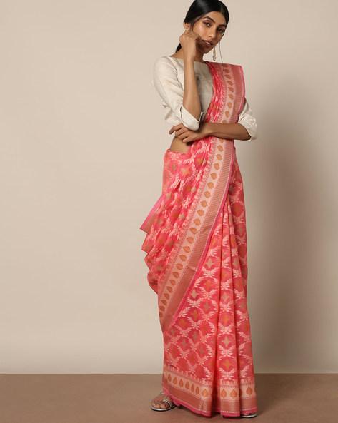 Banarasi Cotton Resham Jaal Saree By Banarasi Style ( Peach )