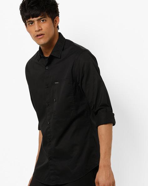 AJIO MEN SHIRTS, BLACK, S By AJIO ( Black ) - 460157362002