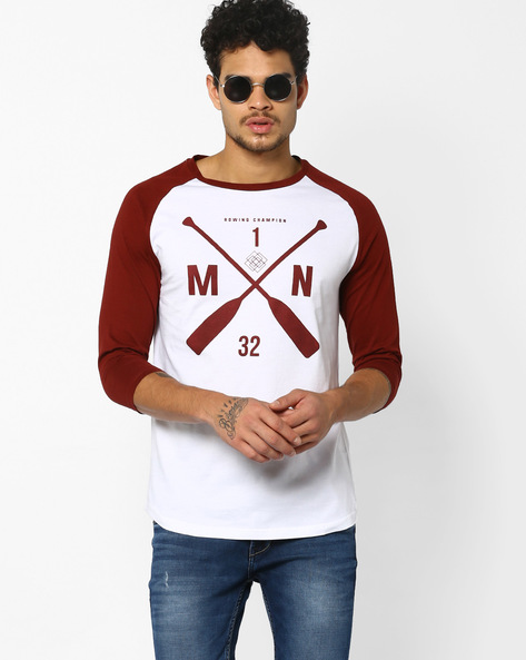 Graphic Print T-shirt With Raglan Sleeves By AJIO ( Red )