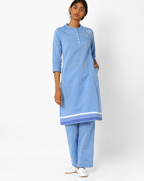 Straight Kurta With Mandarin Collar By AJIO ( Lightblue )