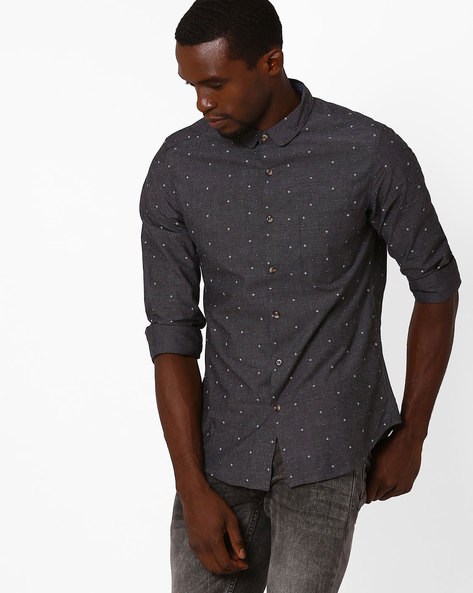 Printed Slim Fit Shirt By AJIO ( Darkgrey )