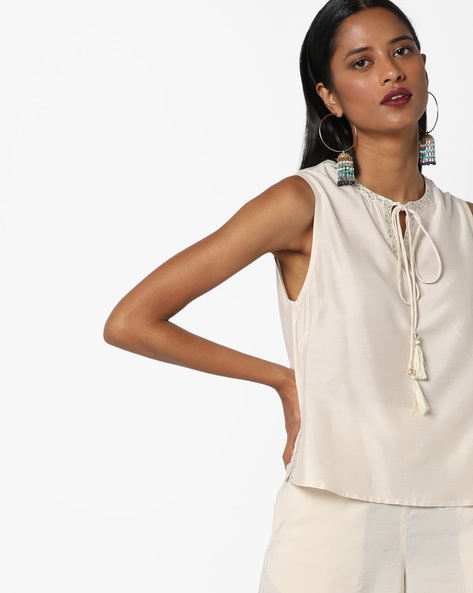 Sleeveless Embroidered Top With Tie-Up By AJIO ( Offwhite )
