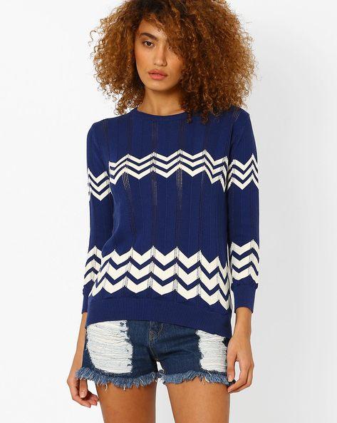 Flat Knit Sweater Top By AJIO ( Navyblue )