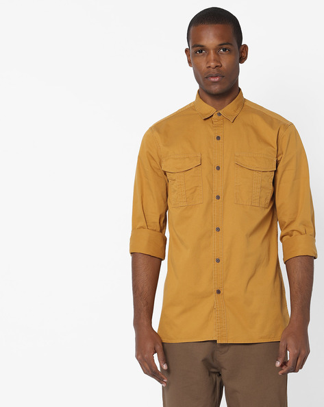 Slim Fit Shirt With Flap Pockets By AJIO ( Olive ) - 460135161005