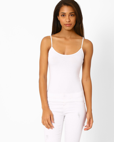 Cotton Camisole With Adjustable Straps By Floret ( White )