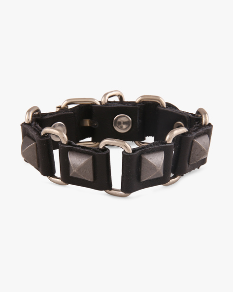 Faux-Leather Bracelet With Metallic Accents By ALPHA MAN ( Black )