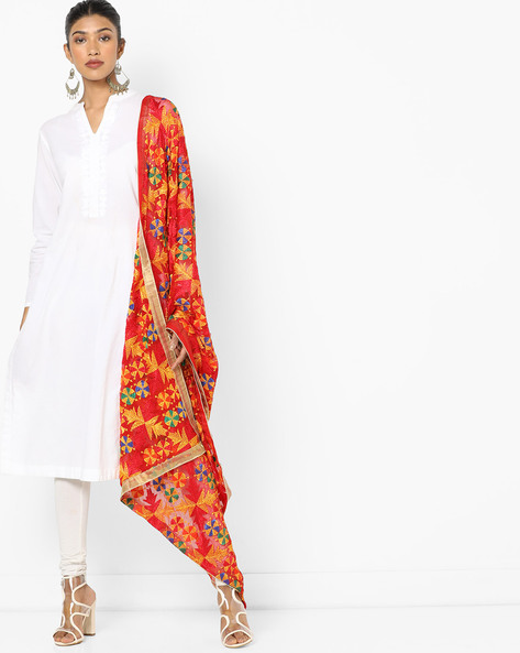 Embroidered Dupatta With Contrast Border By Dupatta Bazaar ( Multi ) - 460162522001