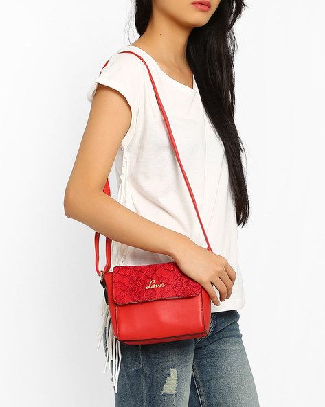 Sling Bag With Chantilly Lace By Lavie ( Red )