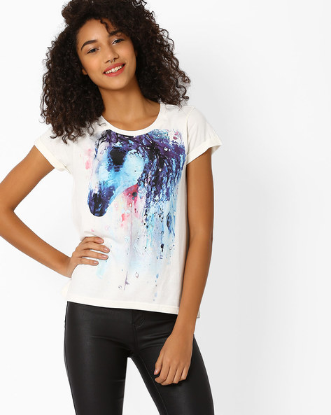 Graphic Print T-shirt By AJIO ( Offwhite ) - 460016186004