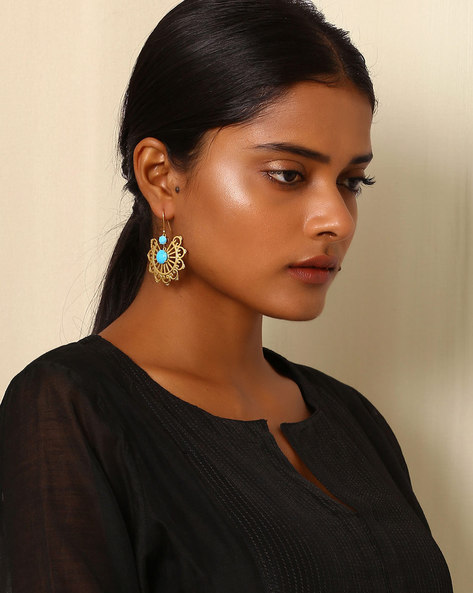 Gold-Plated Brass Drop-Earring By Indie Picks ( Multi ) - 460045173001
