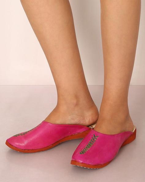 Rajasthani Handmade Genuine Leather Flat Shoes By Indie Picks ( Pink )