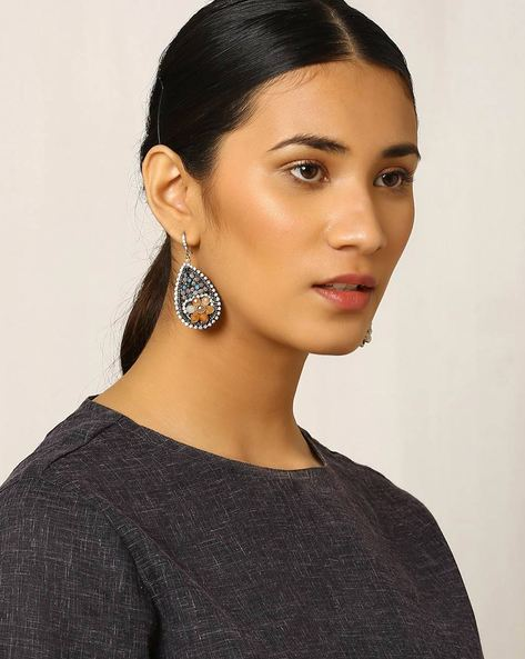 Stone-Studded Drop-Earrings By Indie Picks ( Multi )