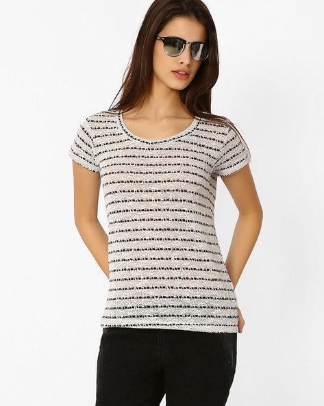 Striped Loose Knit Top By DNM X ( White )
