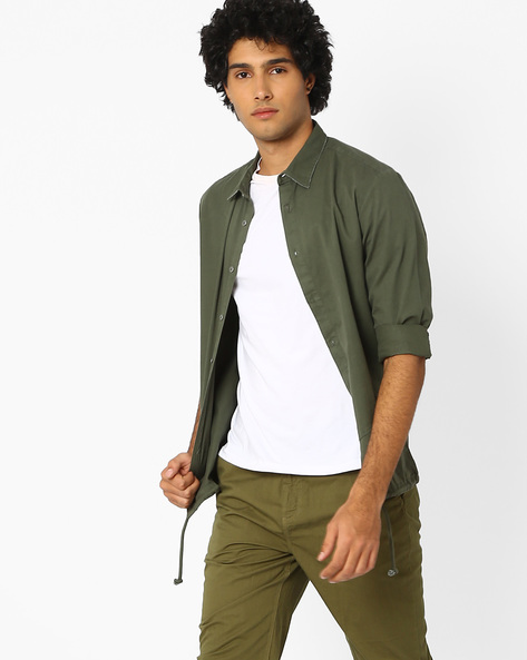 Regular Fit Shirt With Drawstring By Blue Saint ( Green )