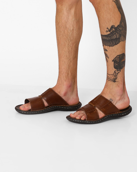 Genuine Leather Flip-Flops By RED TAPE ( Brown )