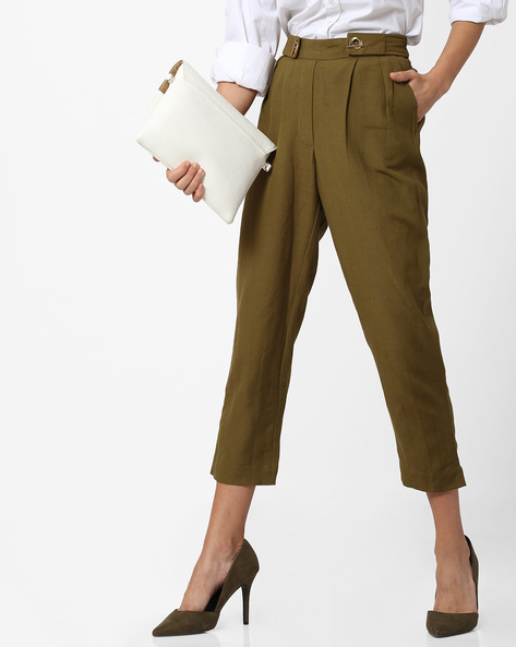 Ankle-length Trousers With Elasticated Waist By CODE By Lifestyle ( Olive )