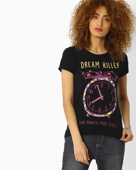 Printed Crew-Neck T-shirt By Blue Saint ( Black )
