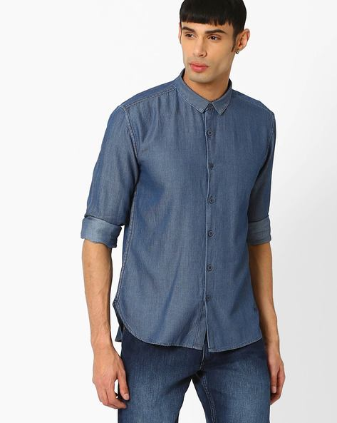 Printed Slim Fit Shirt By VOI JEANS ( Indigo )
