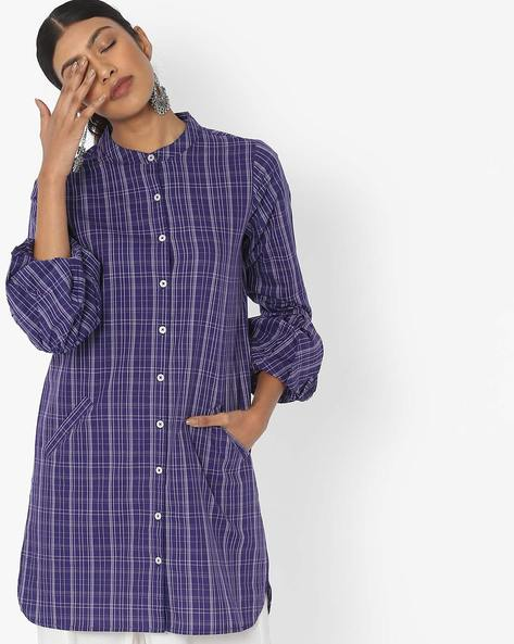 Checked Shirt Tunic With Bishop Sleeves By Desi Fusion ( Blue )